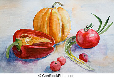 Watercolor Vegetables - Watercolor illustration of...