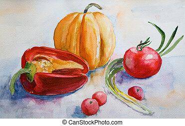 aquarela, legumes