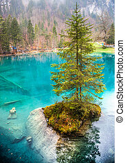 Blausee, Switzerland- Maiden Statue - The maiden statue at...