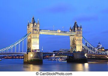 londres, torre, Puente, anochecer