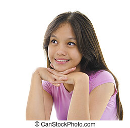 Thoughtful - Asian teen having thought on white background