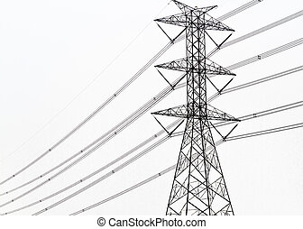 High voltage power pole on white background isolated