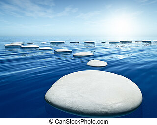 step stones in the blue sea