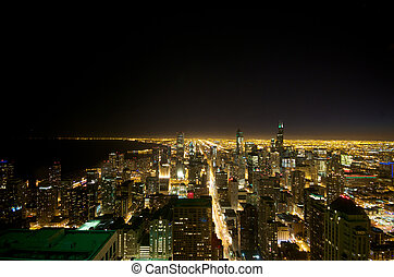 Aerial View of the Chicago Night
