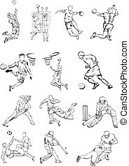 sports team figures - grass hockey, sport icons, olimpic...