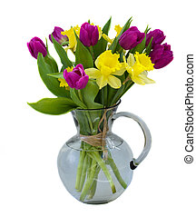 bouquet of tulips and daffodils isolated on white background...