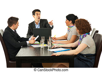 Manager argue employee at meeting