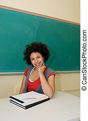Smiling African American in classroom
