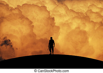 Conceptual Illustration of War: a lonely soldier with...