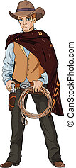 Wild west Young cowboy holding lasso