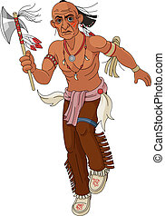 Wild west. Indian - Wild west. Indian warrior with an ax....