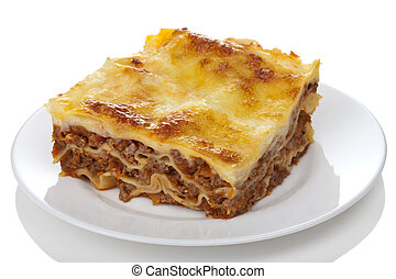 classic lasagna bolognese isolated