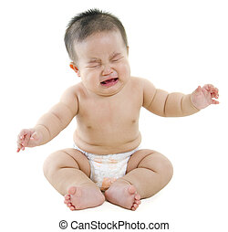 Crying baby boy - Full body Asian baby boy crying on white...
