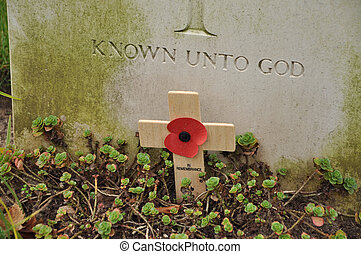 remembrance poppy - Words on a Memorial stone: Known unto...