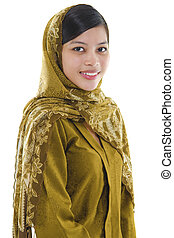 Muslin woman - Portrait of a young muslim woman on whi