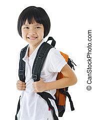 School girl - 7 years old pan Asian school girl on white...