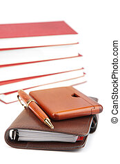 pocket planner and books isolated