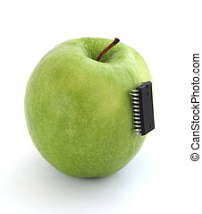 Apple with an integrated circuit isolated over white...
