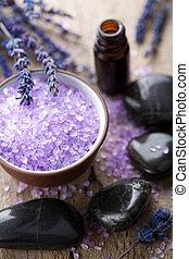herbal salt lavender and spa stones