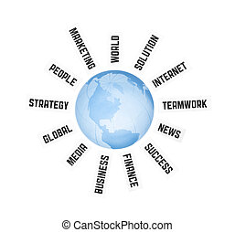 Global Business Communication Concept - Concept image on...