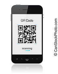 Mobile Smart Phone Showing QR Code Scanner - Modern mobile...