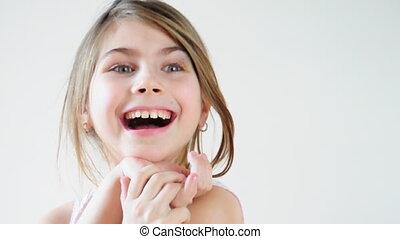 skratta, litet, flicka