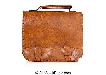 marrón, cuero, bolsa