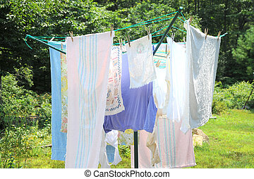 Wash day. - Wash day in a country setting.