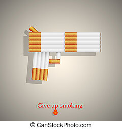 the concept of a gun from cigarettes. Vector illustration....