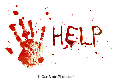 Cry for help - Bloody print of a bleeding hand on a white...