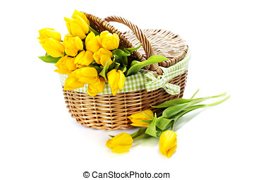 Yellow tulips in a basket