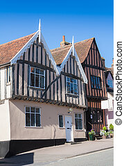 Tudor Houses at Lavenham, Suffolk, England. - Timber-framed...