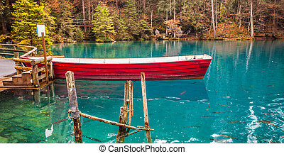 Red Boat at Blausee, Switzerland