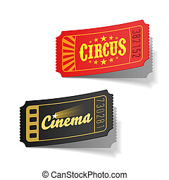 Circus and cinema tickets vector illustration