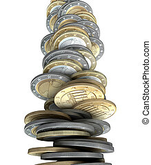Failing Economies - A stack of Euro coin tender becoming...