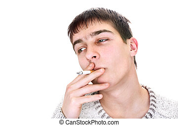 young man smoking - young man is smoking cigarette isolated...