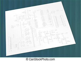 the drawing of a schematic electric circuit with the...