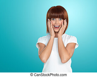 attractive woman surprised face expression