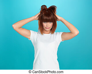 attractive woman pulling her hair - beautiful, young woman...