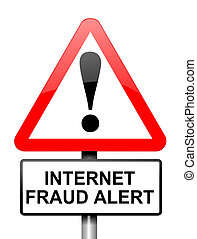 Internet fraud concept - Illustration depicting red and...