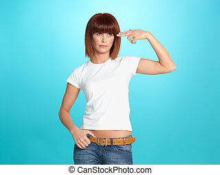 pretty young woman pointing fingers at head