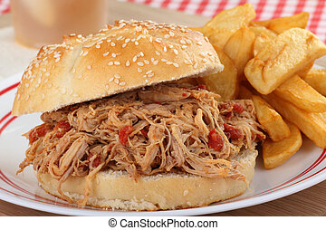 Pulled Pork Sandwich Closeup