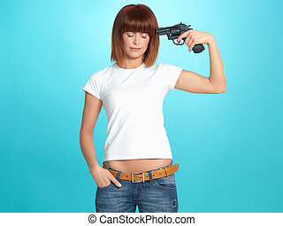 pretty young woman with gun at head