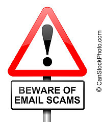 Email scam concept - Illustration depicting red and white...