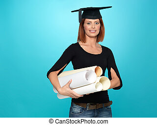 pretty young woman in graduation outfit