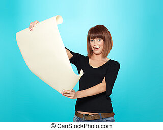 attractive young woman looking at a drawing