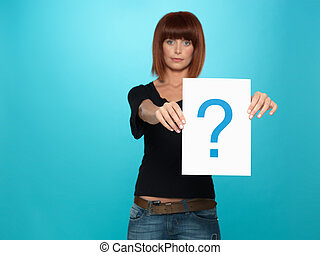 pretty young woman showing a question mark