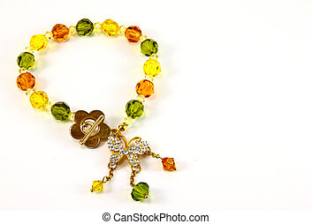 bracelet with color gems on a white background