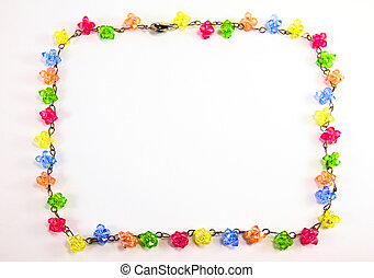 colorful necklace crystal frame on white background