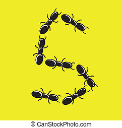 ant - illustration of font created from ant